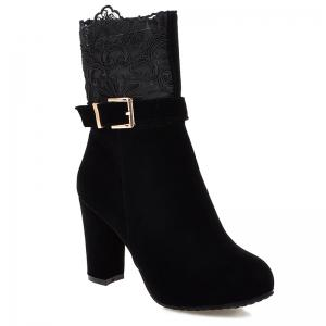 Embroidery Chunky Heel Zipper Short Boots - Black - 39
