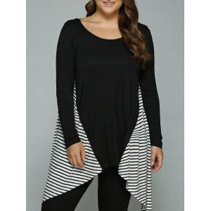 Plus Size Striped Loose Fitting Asymmetrical Blouse - White And Black - 2xl
