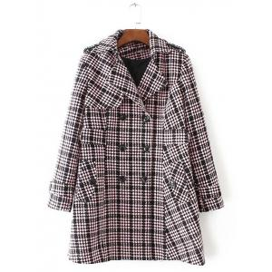 Plus Size Plaid Double Breasted Long Wool Coat - Light Pink - 3xl