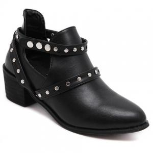 Pointed Toe Studded Strap Snap Closure Ankle Boots