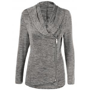 Zipper Up Heathered Blouse