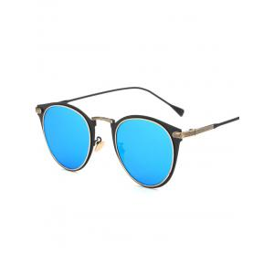 Cool Metal Cat Eye Mirrored Sunglasses - Ice Blue - M