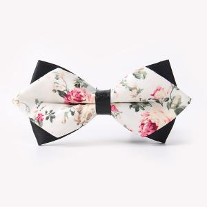 Banquet Rose Sharp-Angled Double-Deck Bow Tie - Off-white - M