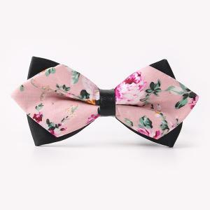 Banquet Rose Sharp-Angled Double-Deck Bow Tie - Pink - One Size
