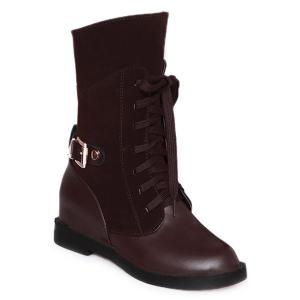 Belt Buckle Hidden Wedge Short Boots