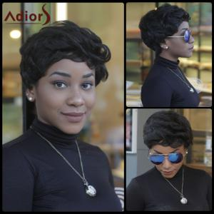 Pixie Cut Short Fluffy Curly Side Bang Synthetic Capless Wig