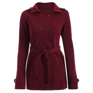 Double-Breasted Fitted Belted Overcoat