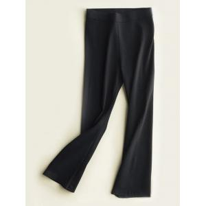 High Waist Slimming Boot Cut Pants - Black - S