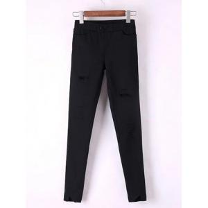 Slimming Frayed Broken Hole Ankle Cigarette Pants - Black - S