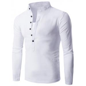 Long Sleeve Grandad Collar Button T Shirt