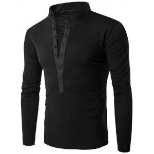 Long Sleeve Grandad Collar Button T Shirt - Black - Xl