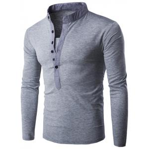 Long Sleeve Grandad Collar Button T Shirt - Light Gray - M