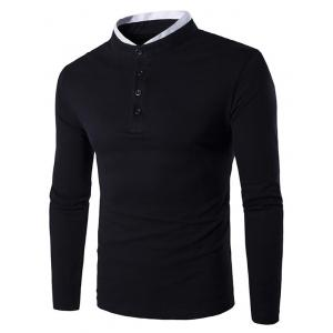 Stand Collar Button Fly Long Sleeve T-Shirt