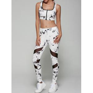 Abstract Print Sporty Bra with Mesh Patchwork Leggings - White - L