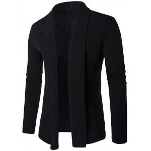 Slim Shawl Collar Drape Cardigan - Black - M
