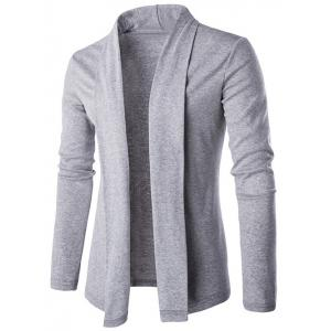 Slim Shawl Collar Drape Cardigan - Light Gray - M