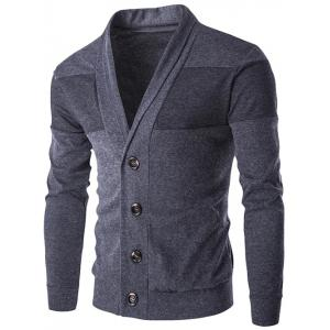 Slim-Fit Shawl Collar Button Up Cardigan - Deep Gray - M
