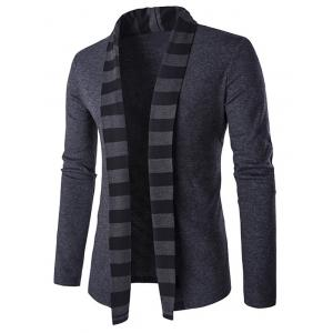 Slim-Fit Striped Shawl Collar Cardigan - Gray - M
