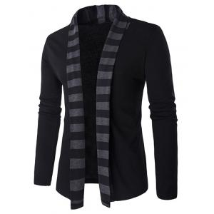 Slim-Fit Striped Shawl Collar Cardigan - Black - Xl