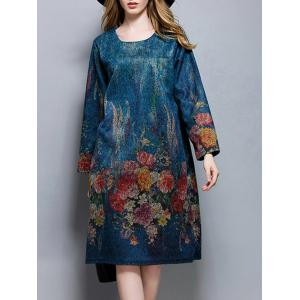Plus Size Floral Print Vintage Dress