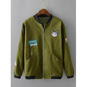 Plus Size Kitten Applique Zipped Bomber Jacket - Army Green - 3xl