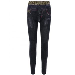 Leopard Print Jeggings Faux Jean Leggings - Black - One Size