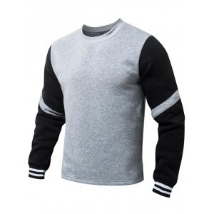 Stripe Pattern Round Collar Fleeces Sweatshirt