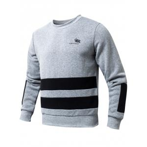 Striped Rib Spliced Round Collar Fleeces Sweatshirt