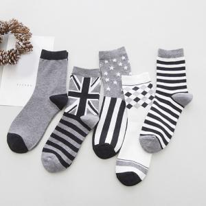One Set Stripe Star British Flag Rhombus Pattern Socks