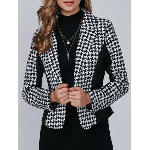 Houndstooth Pattern One Button Blazer - Black - M