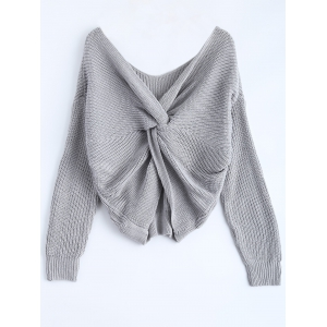 V Neck Knotted Back Chunky Jumper Sweater - Gray - One Size