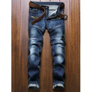 Moto Design Zipper Fly Straight Leg Jeans - Blue - 34