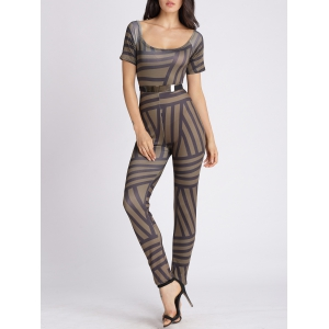 U Neck Abstract Stripe Bodycon Jumpsuit - Green Brown - M