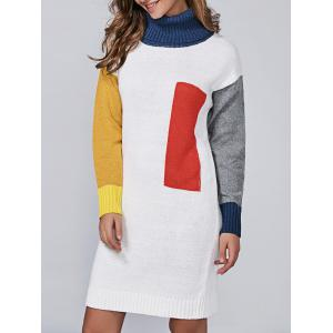 Turtleneck Color Block Long Sleeve Sweater Dress - White - One Size