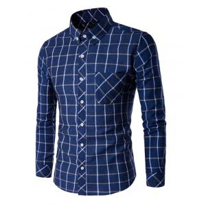 Button-Down Plaid Turn-Down Collar Shirt