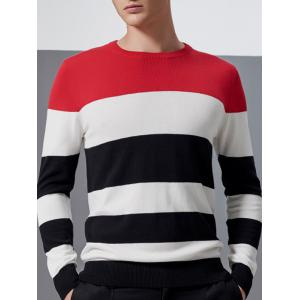 Color Block Splicing Design Crew Neck Long Sleeve Sweater - Red - M