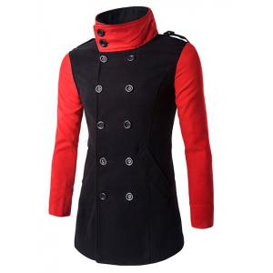 Double-Breasted Turn-Down Collar Color Block Splicing Woolen Coat - Black - 3xl