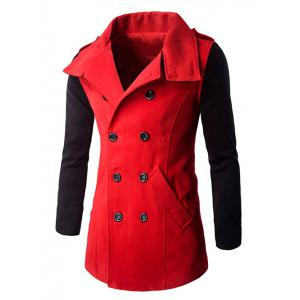 Double-Breasted Turn-Down Collar Color Block Splicing Woolen Coat - Red - M
