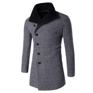 Single-Breasted Houndstooth Pattern Woolen Coat