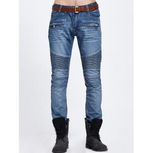 Zipper Pocket Biker Denim Jeans