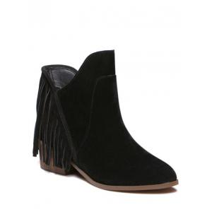 Suede Chunky Heel Fringe Ankle Boots