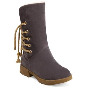 Back Lace-Up Low Heel Suede Mid-Calf Boots - Gray - 38