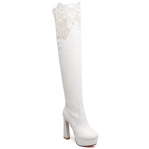 Chunky Heel Lace Spliced Thigh High Boots