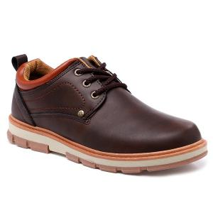 PU Leather Stitching Color Splice Casual Shoes
