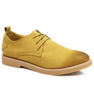 Retro Lace-Up Suede Casual Shoes - Yellow - 44