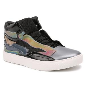 Color Block Mid Top Casual Shoes - Black - 44