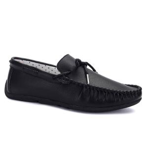 PU Leather Slip-On Casual Shoes - Black - 44