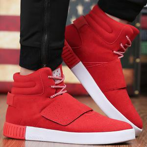 Casual Suede Lace-Up Boots - Red - 40