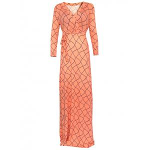 Wrap Wavy Checked Long Sleeve Maxi Evening Dress
