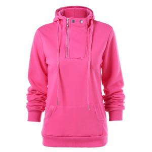 Drawstring Pocket Design Zippered Hoodie